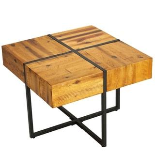 Cortesi Home Landon End Table, Solid Wood with Black Metal Frame
