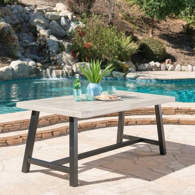 Carlisle Outdoor Rustic Rectangle Wood Dining Table by Christopher Knight Home