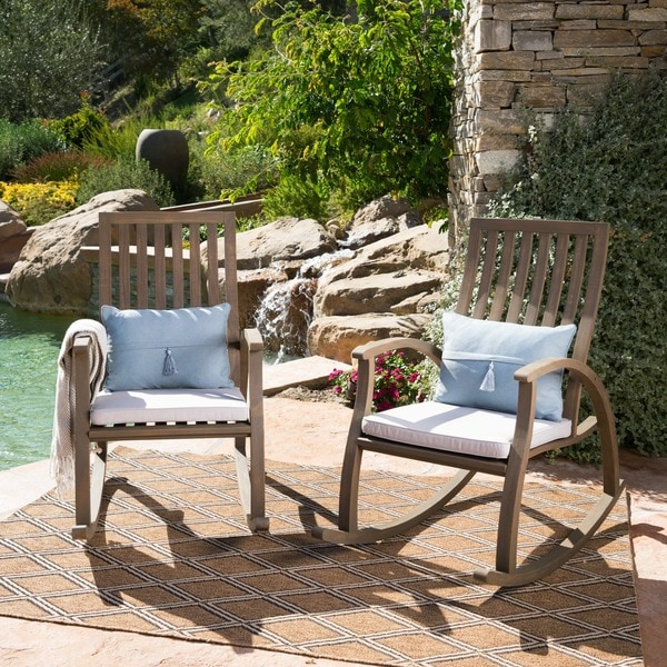 Cayo Outdoor Acacia Wood Rocking Chair With Cushion (Set Of 2) By  Christopher Knight