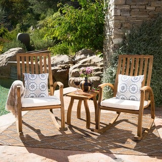 Cayo Outdoor 3 Piece Acacia Wood Rocking Chair Chat Set With Cushion By  Christopher Knight