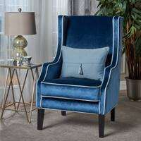 Eddison Traditional Two Toned Velvet Club Chair by Christopher Knight Home
