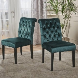 Dinah Roll Top Tufted Velvet Dining Chair (Set of 2) by Christopher Knight Home