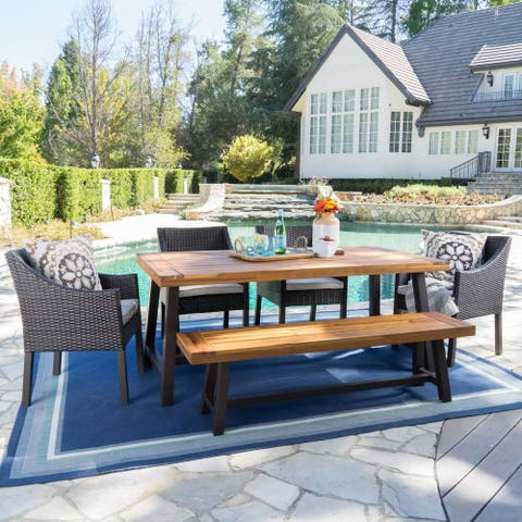 Okane Outdoor 6-piece Rustic Rectangle Dining Set with Seat Cushions by Christopher Knight Home