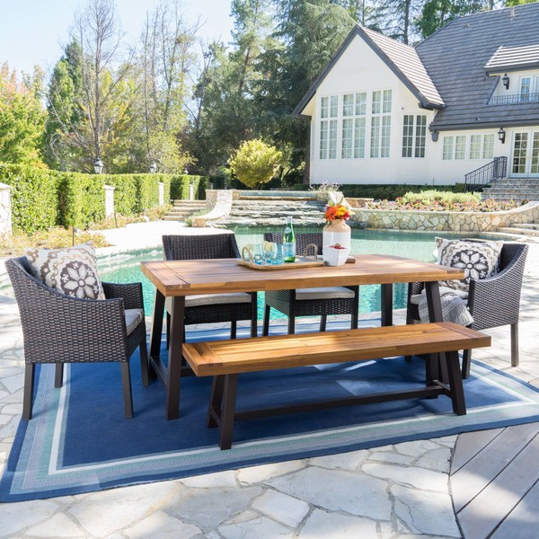 Okane Outdoor 6-piece Rustic Rectangle Dining Set with Seat Cushions by Christopher Knight Home. Opens flyout.