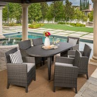 Sardinia Outdoor 7-piece Oval Wicker Dining Set with Cushions by Christopher Knight Home