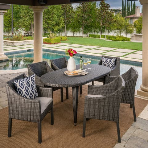 Benjamin Outdoor 7-piece Oval Wicker Dining Set with Cushions by Christopher Knight Home