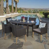 Kala Outdoor 7-piece Oval Wicker Wood Dining Set with Cushions by Christopher Knight Home