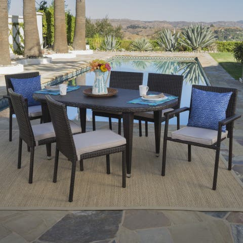 Logan Outdoor 7-piece Oval Wicker Dining Set with Cushions by Christopher Knight Home