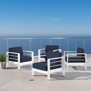 Cape Coral Outdoor Aluminum Club Chair with Cushion (Set of 4) by Christopher Knight Home