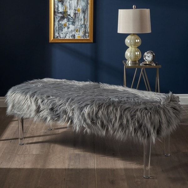 Shop Karren Glam Rectangle Faux Fur Ottoman Bench By Christopher Knight Home On Sale Free
