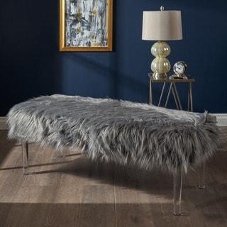 Shop Karren Glam Rectangle Faux Fur Ottoman Bench By