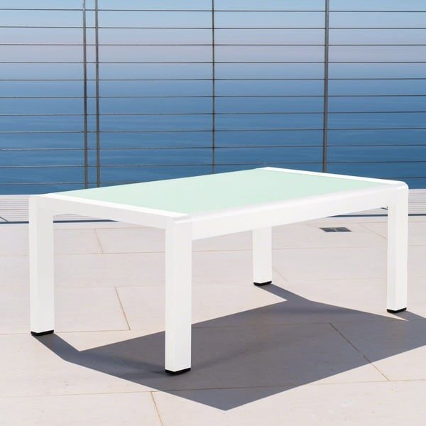 Cape Coral Outdoor Aluminum Tempered Glass Rectangle Coffee Table by Christopher Knight Home