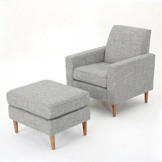 Sawyer Mid Century Modern Fabric Club Chair & Ottoman Set by Christopher Knight Home