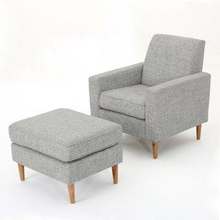 Sawyer Mid Century Modern Fabric Club Chair U0026 Ottoman Set By Christopher  Knight Home