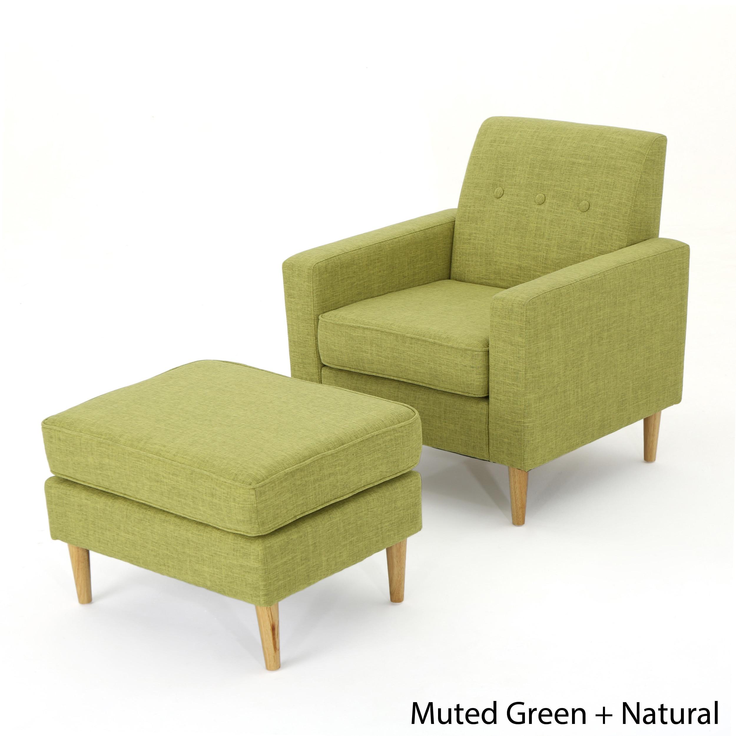new york 61890 04a73 Sawyer Mid Century Modern Fabric Club Chair & Ottoman Set by Christopher  Knight Home