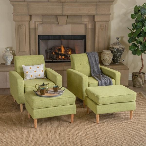 Delicieux Sawyer Mid Century Modern Fabric Club Chair U0026amp; Ottoman Set (Set Of 2)