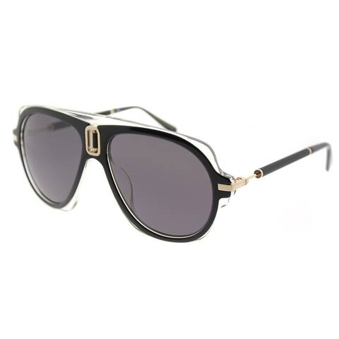 Balmain Aviator BL 8093 C01 Unisex Black Crystal Frame Grey Lens Sunglasses