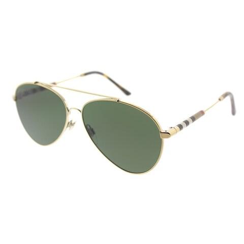Burberry Aviator BE 3092Q 114571 Unisex Light Gold Frame Green Lens Sunglasses