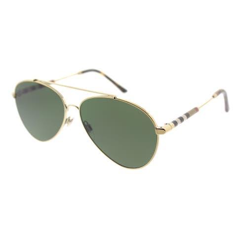 64bba5ee8c0f Burberry Aviator BE 3092Q 114571 Unisex Light Gold Frame Green Lens  Sunglasses