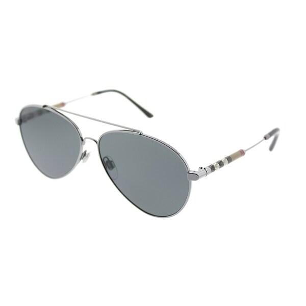 dc1362f67ba Burberry Aviator BE 3092Q 100387 Unisex Gunmetal Frame Grey Lens Sunglasses