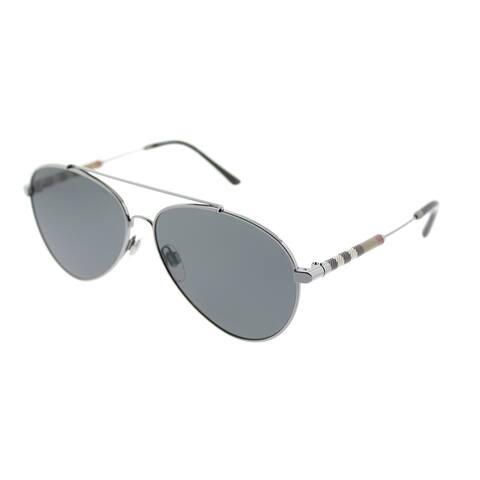 Burberry Aviator BE 3092Q 100387 Unisex Gunmetal Frame Grey Lens Sunglasses