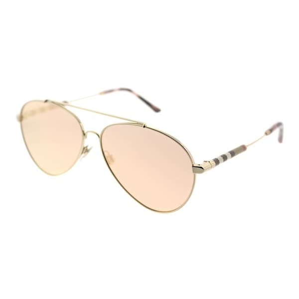 83bf2d8bee6f Burberry Aviator BE 3092Q 12437J Unisex Gold Frame Rose Gold Mirror Lens  Sunglasses