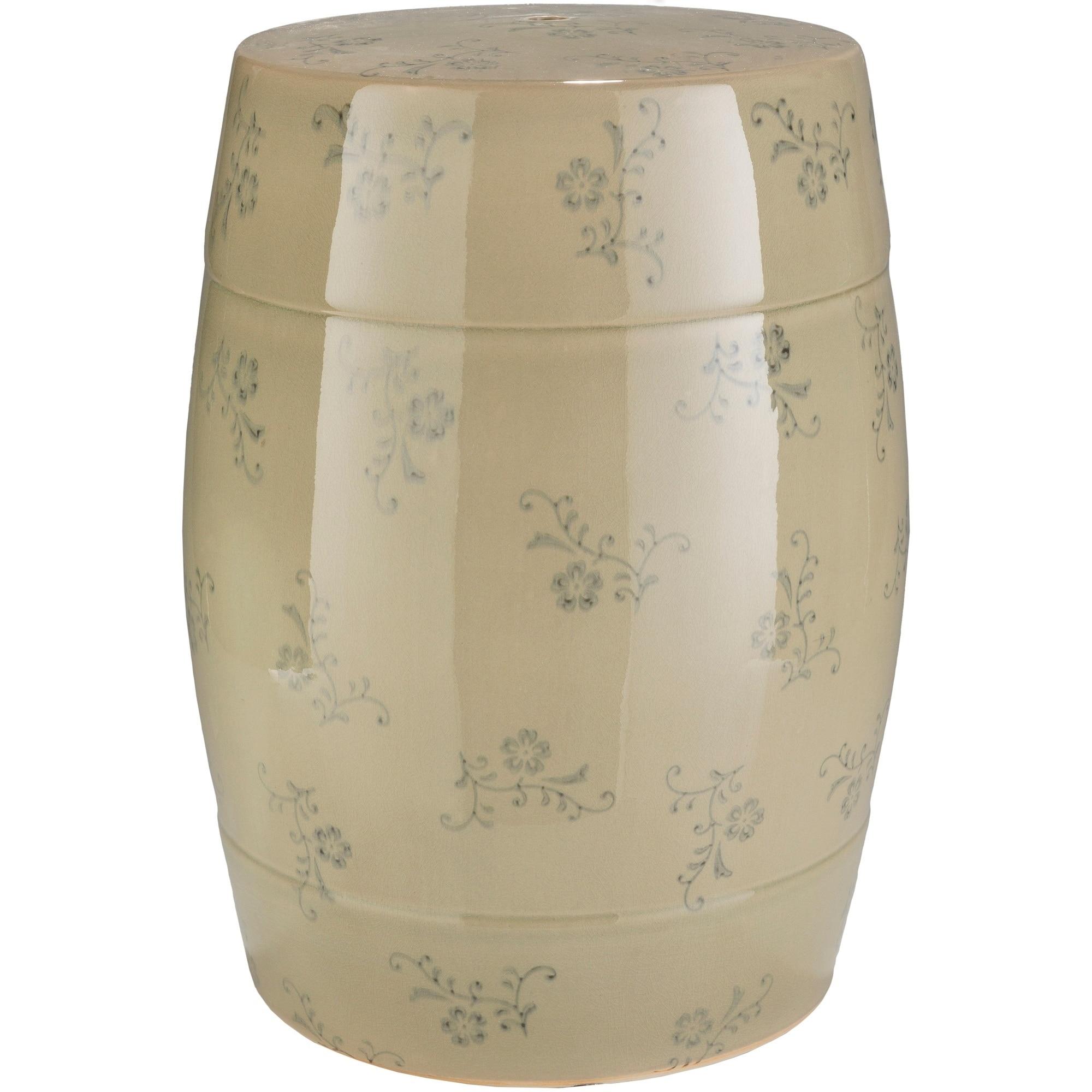 Roland Khaki Transitional Ceramic Stool, Tan, Size Single...