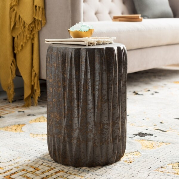 Brigida Indoor Outdoor Modern Metallic Ceramic Garden Stool