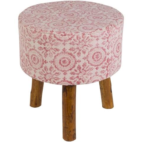Shantanu Pink Boho Wooden Stool