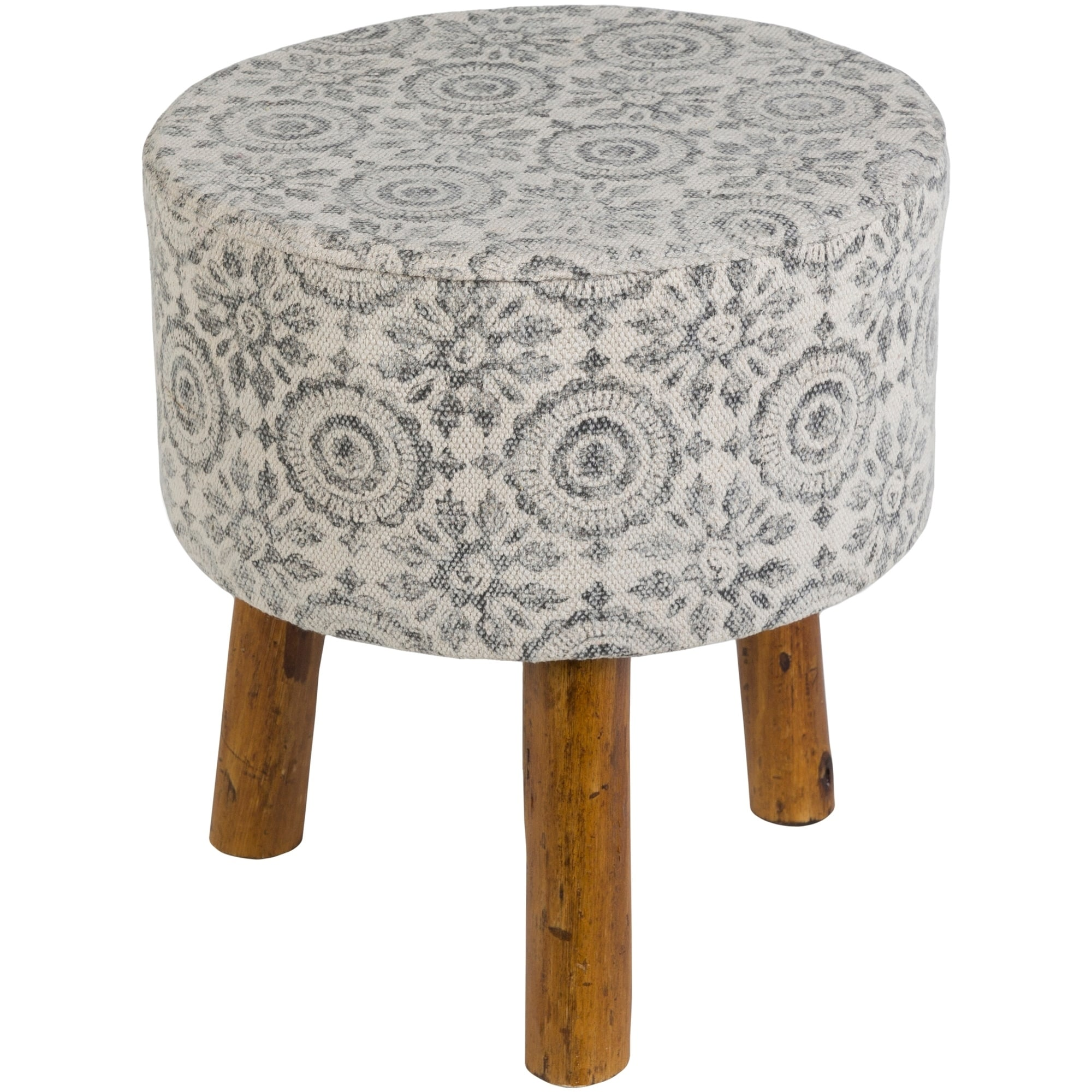Shantanu Charcoal Boho Wooden Stool