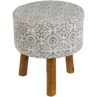 Shantanu Boho Charcoal Cotton Wooden Stool