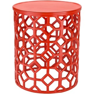 Meuric Bright Orange Transitional 14-inch Metal Accent Table