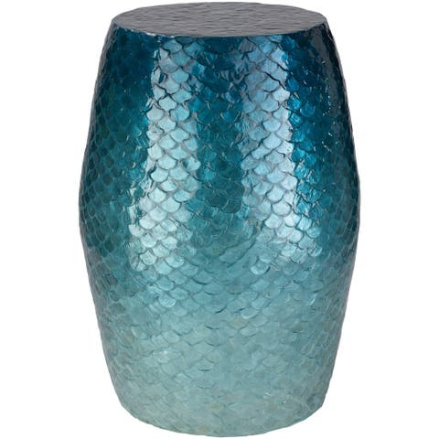 Bhavna Blue Coastal 13.8-inch Mother of Pearl Accent Table
