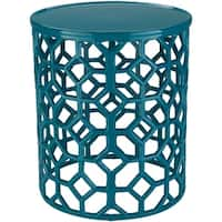 Meuric Teal Transitional 14-inch Metal Accent Table
