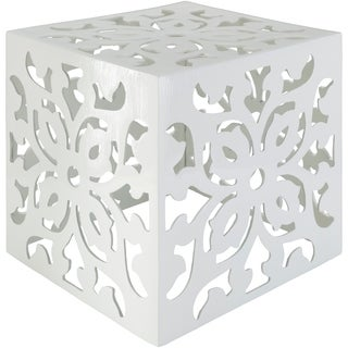 Emideo White Metal Transitional 15-inch Accent Table