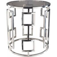 Frantziska Silver Modern Glass 20-inch Side Table