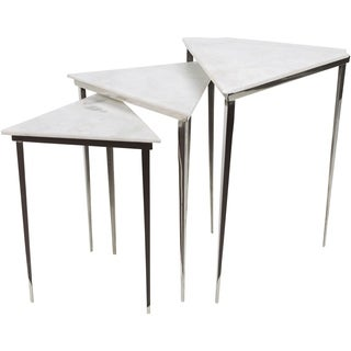 Kalpana Ivory Modern Marble Accent Table (Set Of 3)