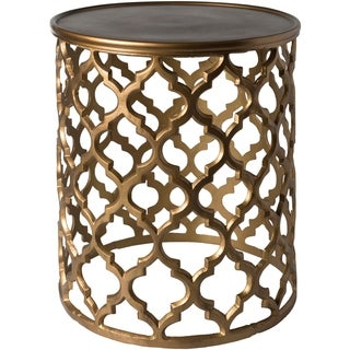 Tiziana Tan Transitional 16.5-inch Metal Accent Table
