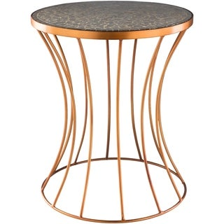 Walentyna Goldtone Metal/Wood 15-inch Transitional Accent Table