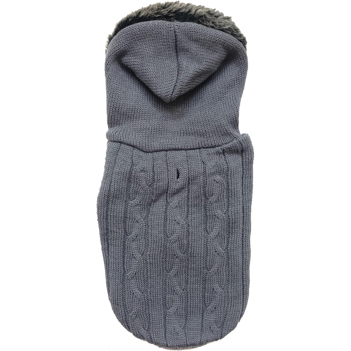 Ethical Pets Fashion Pet Faux Fur Hooded Sweater (Gray La...