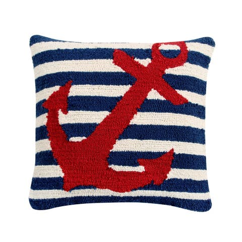 "Anchor 18"" Square Hand-Hooked Cushion"