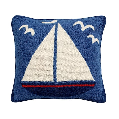 "Sail Boat 18"" Hand-Hooked Square Cushion Cover"