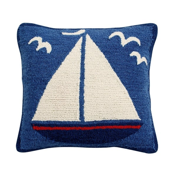 """Sail Boat 18"""" Hand-Hooked Square Cushion Cover. Opens flyout."""