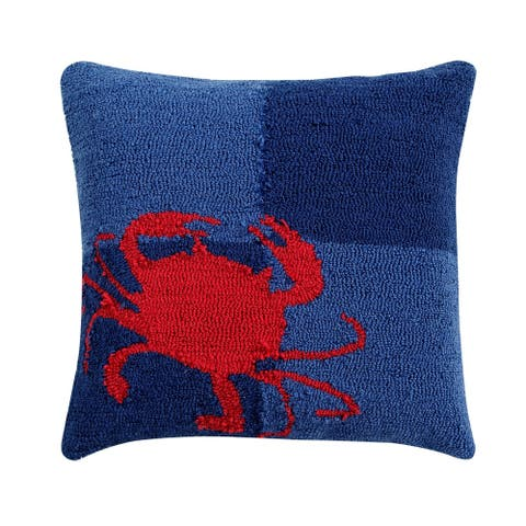 "Crab 18"" Square Hand-Hooked Cushion"