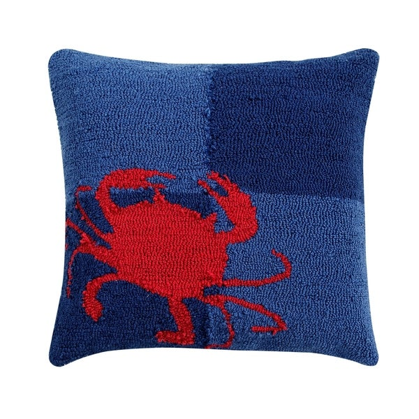 """Crab 18"""" Square Hand-Hooked Cushion. Opens flyout."""