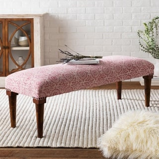 Tuan Bright Pink Cotton and Wood Boho-style Bench