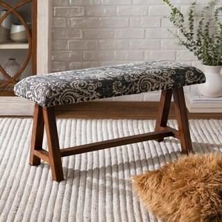 Yijun Black and White Cotton Upholstered Damask Bench
