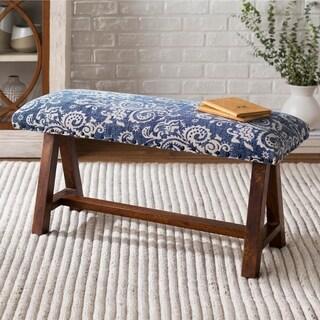 Yijun Blue Cotton Boho Bench with Wood Base