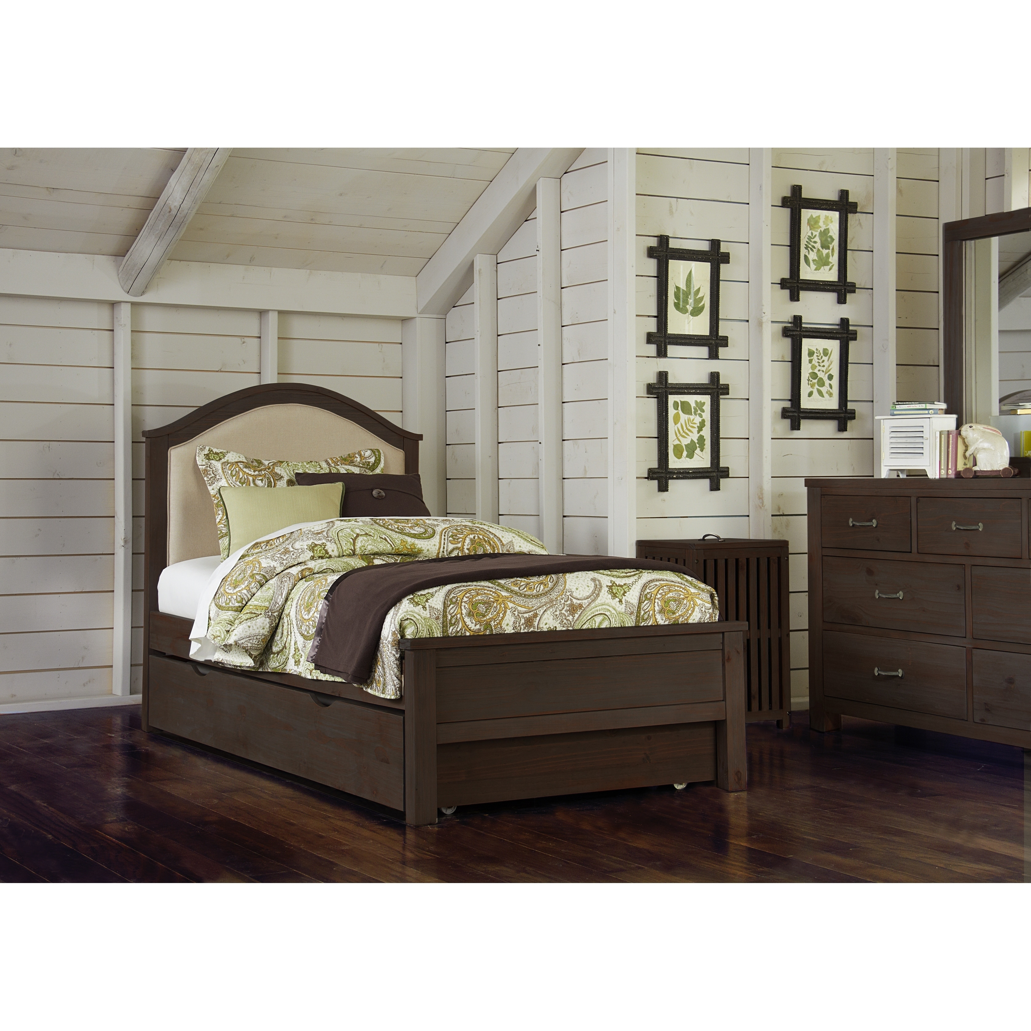 Hillsdale Highlands Twin Bailey Upholstered Bed with Trundle, Espresso