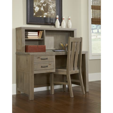 Highlands Desk with Hutch and Chair, Driftwood - 48H x 48.75W x 23.75L